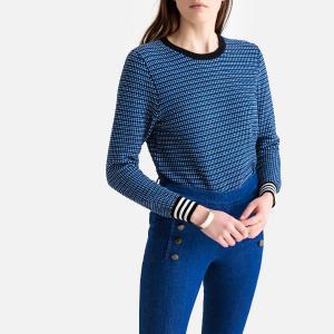 Пуловер с круглым вырезом из тонкого жаккардового трикотажа SUNCOO. Цвет: синий