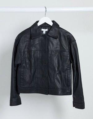 Черная кожаная куртка Boutique-Черный цвет Topshop