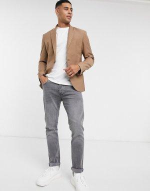 Светло-коричневый приталенный пиджак New Look