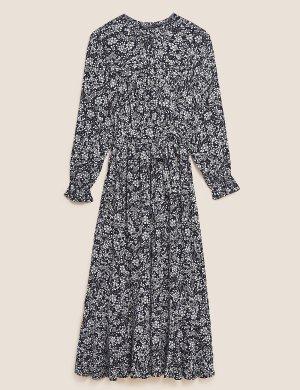 Платье-миди с цветочным принтом и поясом на талии M&S Collection. Цвет: морской микс