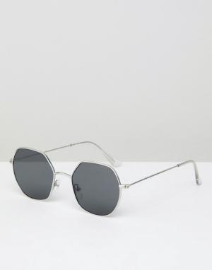 Солнцезащитные очки с шестигранными стеклами в серебристой оправе Rive River Island. Цвет: серебряный