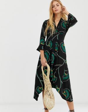 Платье миди с оборками Lalie BA&SH. Цвет: мульти