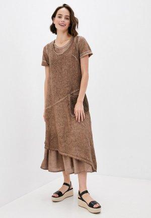 Платья 2 шт. Agenda. Цвет: коричневый