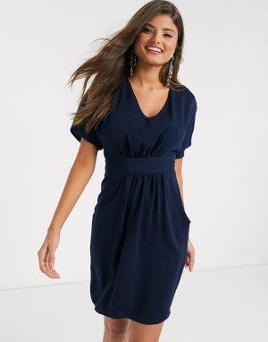 Темно-синее платье мини с короткими рукавами -Темно-синий Closet London
