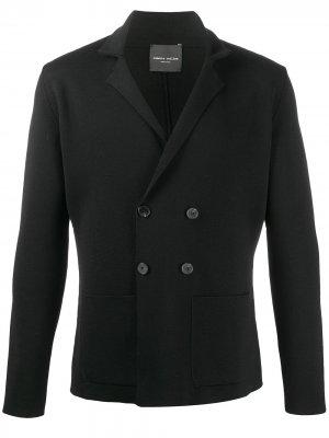 Двубортный пиджак Roberto Collina. Цвет: черный