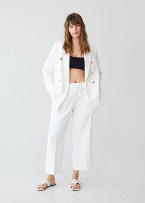 Укороченные костюмные брюки - Veronika Mango. Цвет: грязно-белый