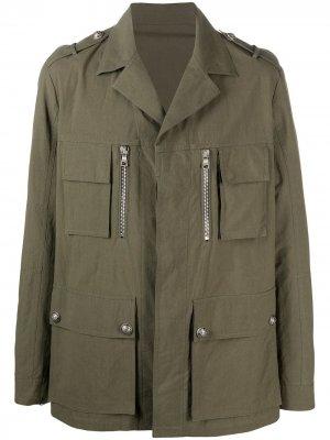 Куртка в стиле милитари с карманами Balmain. Цвет: зеленый