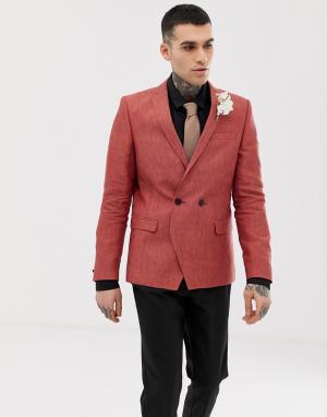 Льняной блейзер рыжего цвета -Коричневый Twisted Tailor