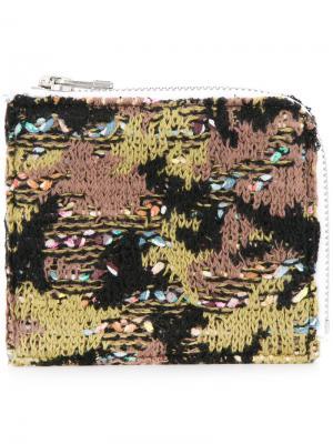 Трикотажный твидовый кошелек с камуфляжным принтом Coohem. Цвет: зеленый