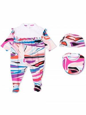 Комплект из пижамы, нагрудника и шапки с принтом Emilio Pucci Junior. Цвет: розовый