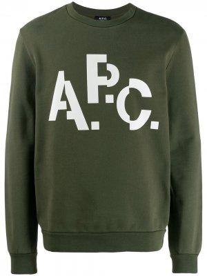 Толстовка с логотипом A.P.C.. Цвет: зеленый