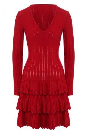 Шерстяное платье Alaia. Цвет: красный