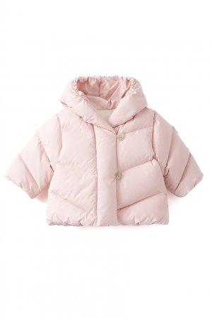 Светло-розовый пуховик с капюшоном Pearlie Bonpoint. Цвет: розовый