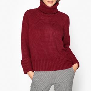 Пуловер с отворачивающимся воротником из плотного трикотажа NAGORA BA&SH. Цвет: бордовый