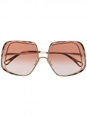 Солнцезащитные очки Hanah в квадратной оправе Chloé Eyewear. Цвет: золотистый