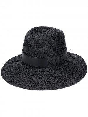 Соломенная шляпа Karl Lagerfeld. Цвет: черный