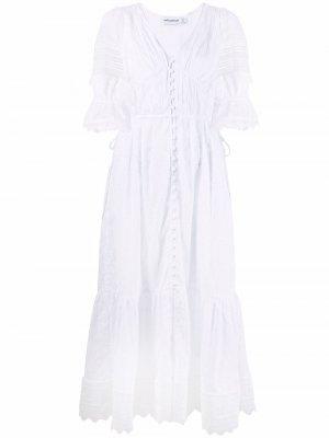 Платье миди с кружевом Self-Portrait. Цвет: белый