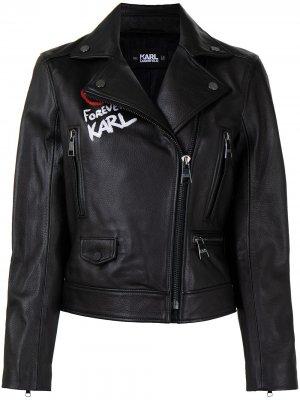 Байкерская куртка Karl Forever с графичным принтом Lagerfeld. Цвет: черный