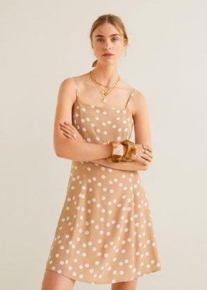 Принтованное платье с резинкой для волос - Lula Mango. Цвет: бежевый