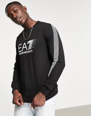 Черный свитшот с круглым вырезом и логотипом Armani 7-Черный цвет EA7