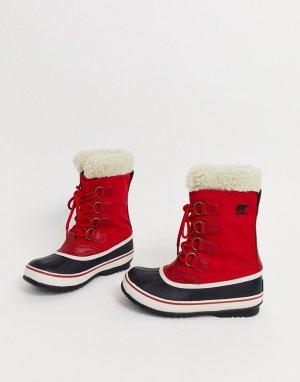 Красные непромокаемые лыжные сапоги с подкладкой из микрофлиса Carnival-Красный Sorel
