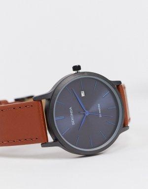 Часы с коричневым кожаным ремешком и синим циферблатом -Коричневый Sekonda