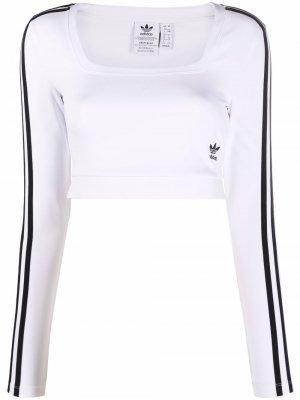 Платье Adicolor Classics с длинными рукавами adidas. Цвет: белый