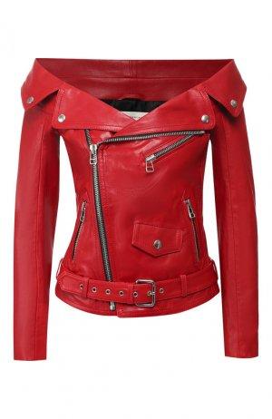 Кожаная куртка Faith Connexion. Цвет: красный