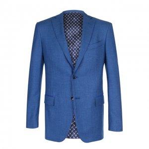 Однобортный пиджак из смеси шерсти и шелка Zilli. Цвет: синий