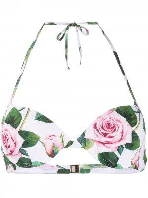 Лиф бикини с принтом Tropical Rose Dolce & Gabbana. Цвет: белый