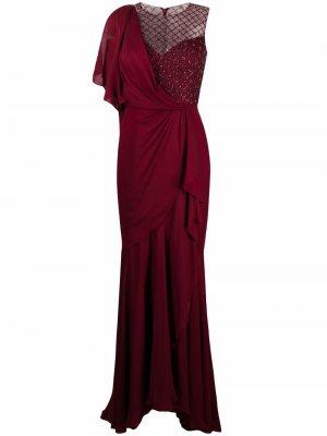 Платье асимметричного кроя с драпировкой Jenny Packham. Цвет: красный