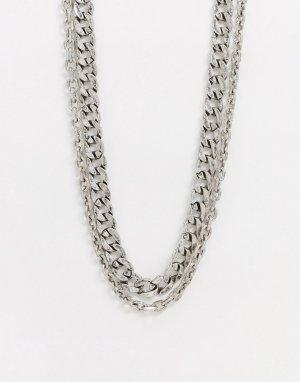 Ярусное ожерелье -Серебряный ASOS DESIGN