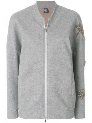 Декорированная куртка-бомбер Eleventy. Цвет: серый