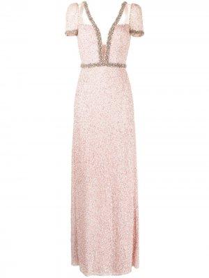 Платье Pastel Love с глубоким вырезом Jenny Packham. Цвет: розовый