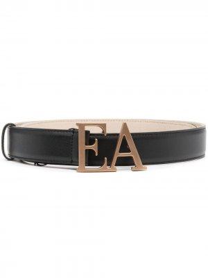 Logo-plaque leather belt Emporio Armani. Цвет: черный