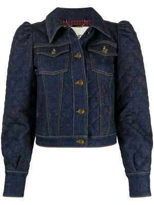 Джинсовая куртка с пышными рукавами Fendi. Цвет: синий