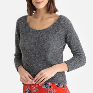 Пуловер с вырезом-лодочкой из плотного трикотажа WOXILEN AMERICAN VINTAGE. Цвет: антрацит,белый,красный,синий меланж