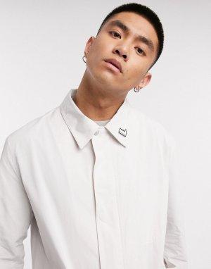 Кремовый макинтош со значком и накладными карманами -Белый Albam Utility