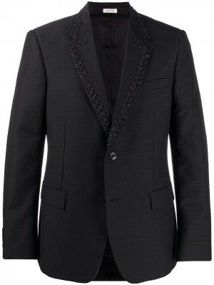 Однобортный пиджак с бисером Alexander McQueen. Цвет: черный