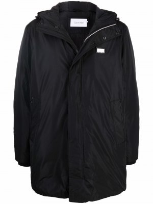 Water-repellent hooded logo-detail parka Calvin Klein. Цвет: черный