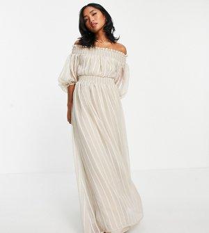 Светло-бежевое платье макси в однотонную полоску с открытыми плечами и пышными рукавами на манжете ASOS DESIGN Petite-Светло-бежевый цвет Petite