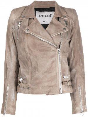 Приталенная байкерская куртка S.W.O.R.D 6.6.44. Цвет: нейтральные цвета