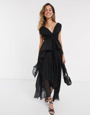 Ярусное платье миди с поясом -Черный ASOS DESIGN