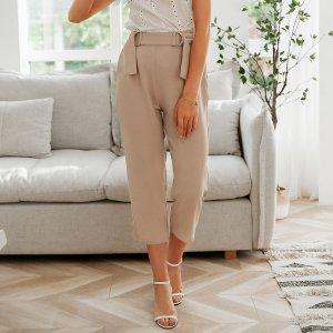 Simplee брюки капри с поясом SHEIN. Цвет: aбрикосовый