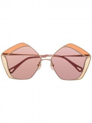 Солнцезащитные очки Gemma в пятиугольной оправе Chloé Eyewear. Цвет: золотистый