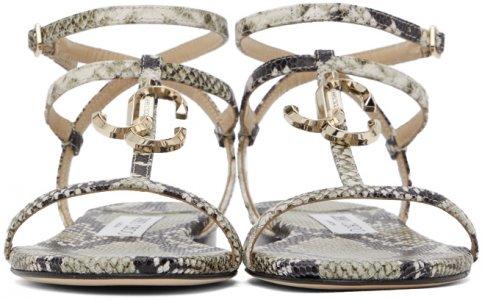 Grey Snake Alodie Flat Sandals Jimmy Choo. Цвет: roccia