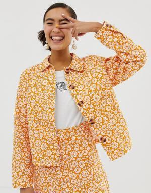 Желтая джинсовая куртка с цветочным принтом -Желтый Monki