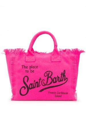 Парусиновая пляжная сумка с логотипом Mc2 Saint Barth. Цвет: розовый