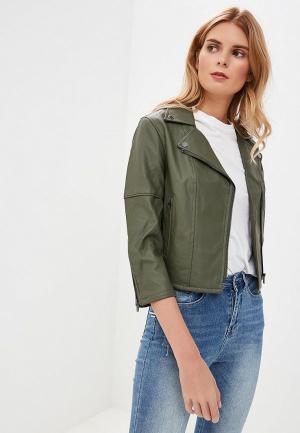 Куртка кожаная SH. Цвет: хаки