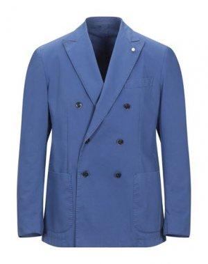 Пиджак LUIGI BIANCHI ROUGH. Цвет: ярко-синий